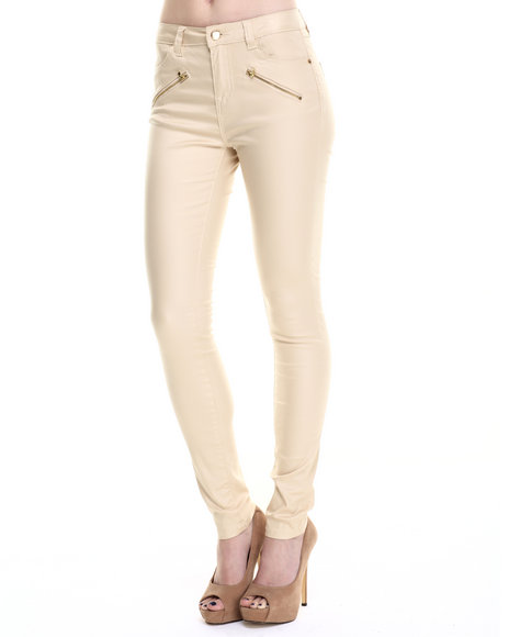 Bianco Jeans - Women Beige Zip Trim Super Stretch Premium Coated Jean