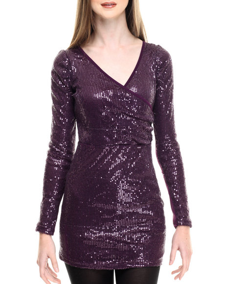 Ur-ID 214581 Fashion Lab - Women Purple Giselle Knitted Sequins Dress
