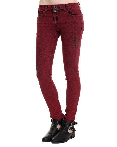 Basic Essentials - Women Maroon Medieval Skinny Jean W/Rip & Repair Detail