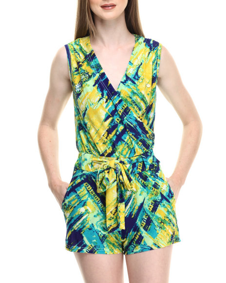Apple Bottoms - Women Blue,Multi Allover Printed Knit Romper - $34.00
