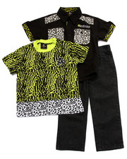 Sets - 3 PC SET - ANIMAL PRINT SHIRT, TEE, & JEANS (2T-4T)