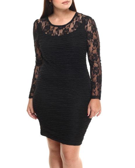 Fashion Lab - Women Black Lillian Knitted Lace Dress (Plus Size)