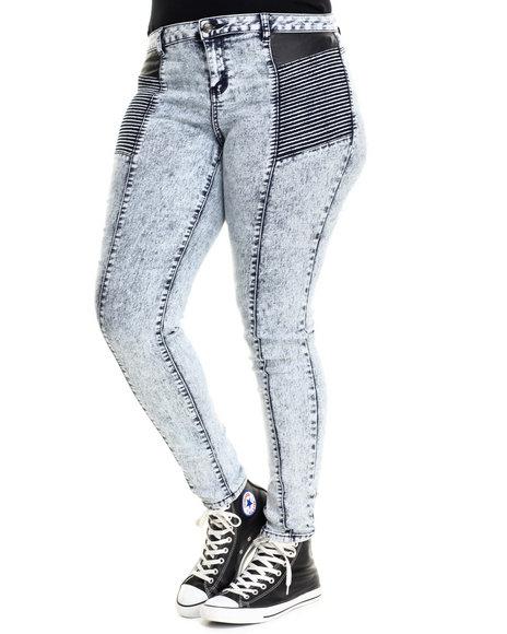 Basic Essentials - Women Blue Blue Burst Acid Vegan Leather Detail Moto Skinny Jean (Plus)