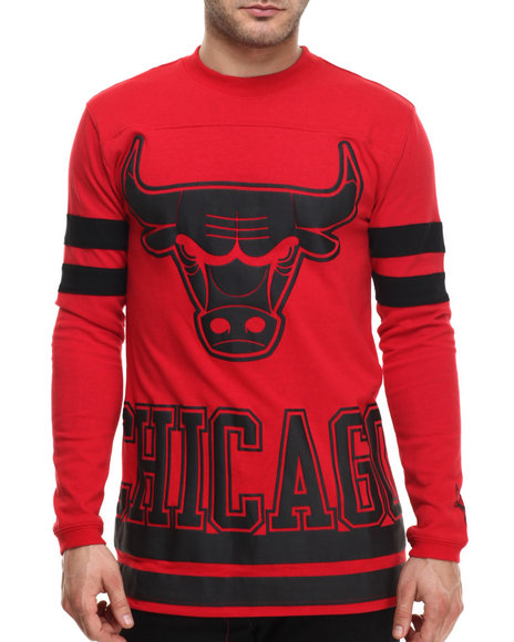 Nba, Mlb, Nfl Gear - Men Red Chicago Bulls Hallmark L/S Shirt - $29.99