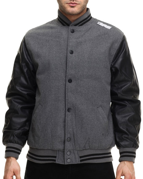 Basic Essentials - Men Grey Baseball Varsity Faux Leather And Wool Jacket