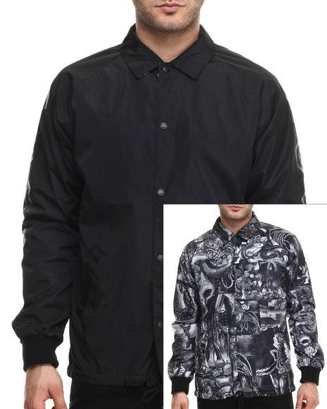 Crooks & Castles - Men Black Matsumoto Reversible Coachs Jacket - $129.00