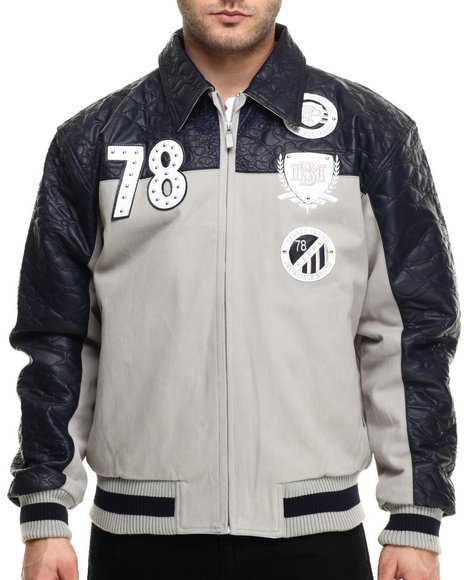 Pelle Pelle - Men Grey,Navy Original & True Twill/Faux Leather Jacket
