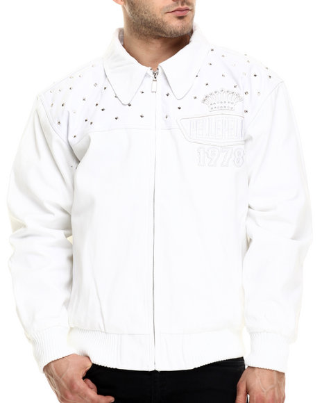 Pelle Pelle - Men White Lethal Twill Stud Jacket