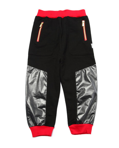 Akademiks - Boys Black Coated Jersey Joggers (4-7)