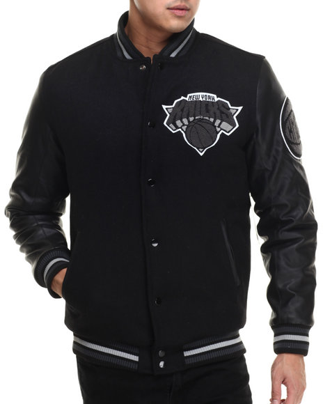 Nba, Mlb, Nfl Gear - Men Black New York Knicks Bogue Varsity Jacket W/ Vegan Leather Sleeves