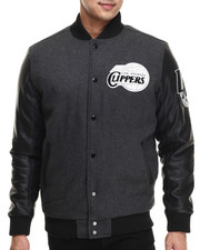 NBA, MLB, NFL Gear - Los Angeles Clippers Bogue Varsity Jacket w/ Vegan Leather Sleeves