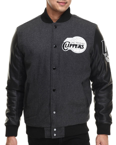 Nba, Mlb, Nfl Gear - Men Charcoal Los Angeles Clippers Bogue Varsity Jacket W/ Vegan Leather Sleeves
