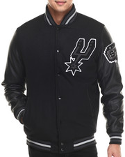 Outerwear - San Antonio Spurs Bogue 2 Varsity Jacket w/ Vegan Leather Sleeves