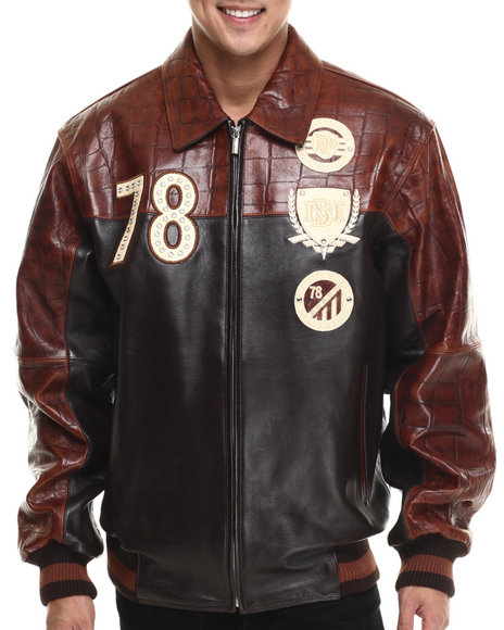 Ur-ID 214751 Pelle Pelle - Men Brown Original & True Genuine Croc Embossed Leather Jacket