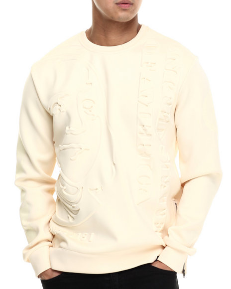 Ur-ID 214753 Hudson NYC - Men Yellow Stacked Ben Bonded Knit Embossed Crewneck Sweatshirt
