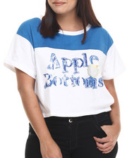 Apple Bottoms - Wide Neck Cropped Tee w/Roll Cuff Sleeve (Plus)