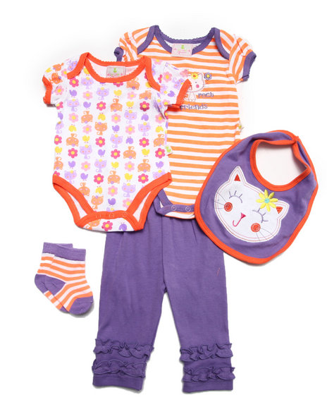 Duck Duck Goose - Girls Purple 5 Pc Purrfect Set (Newborn)