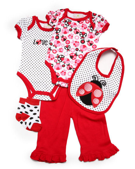 Duck Duck Goose - Girls Red 5 Pc Love Bug Set (Newborn)