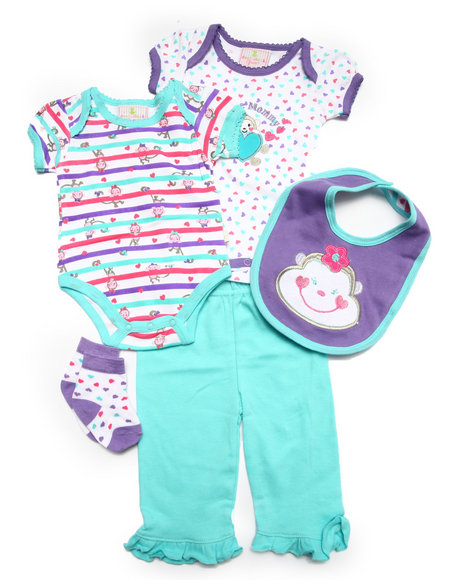 Duck Duck Goose - Girls Teal 5 Pc Lil' Monkey Set (Newborn) - $10.99