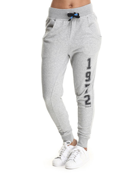 Adidas - Women Grey Super Logo Essential Baggy French Terry Track Pants