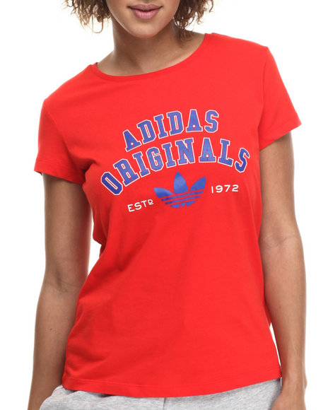 Ur-ID 214778 Adidas - Women Red Logo Essentials S/S Tee