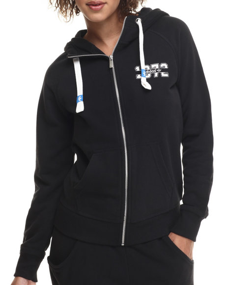 Adidas - Women Black Super Logo Essential Full - Zip Hoodie