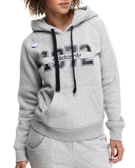 Adidas - Women Grey Super Logo Essential Hoodie