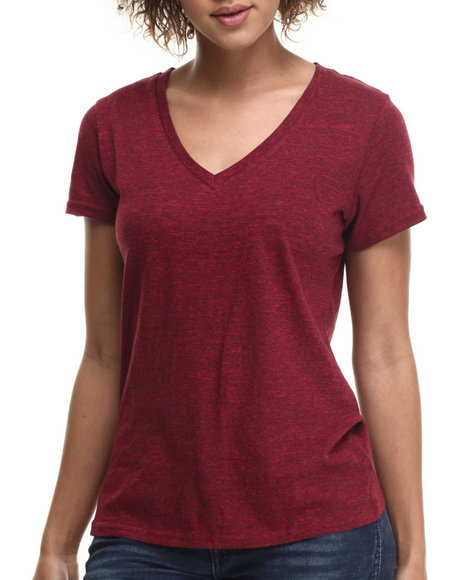Ur-ID 214794 Basic Essentials - Women Maroon Speckle V-Neck Tee