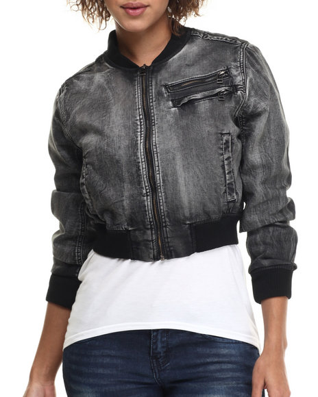 Ur-ID 214813 Fashion Lab - Women Black Knit Denim Banded Jacket