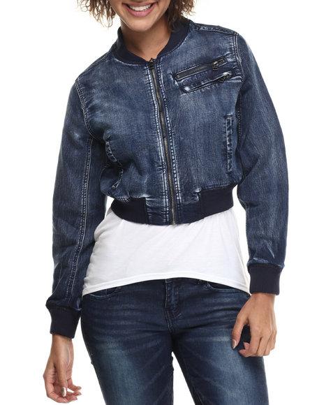Ur-ID 214820 Fashion Lab - Women Dark Wash Knit Denim Banded Jacket