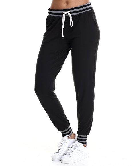 Basic Essentials - Women Black Court Jersey Knit Jogger W/Stripe Drawstring