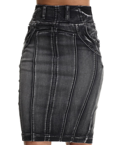 Fashion Lab - Women Black Knit Denim Pencil Skirt
