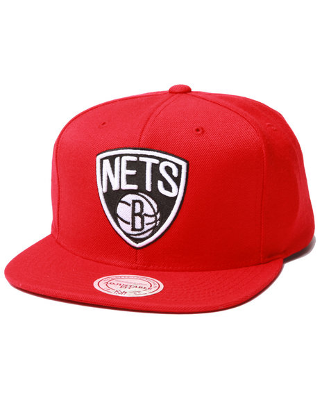 Mitchell & Ness Men Brooklyn Nets Logo Series Snapback Hat Red