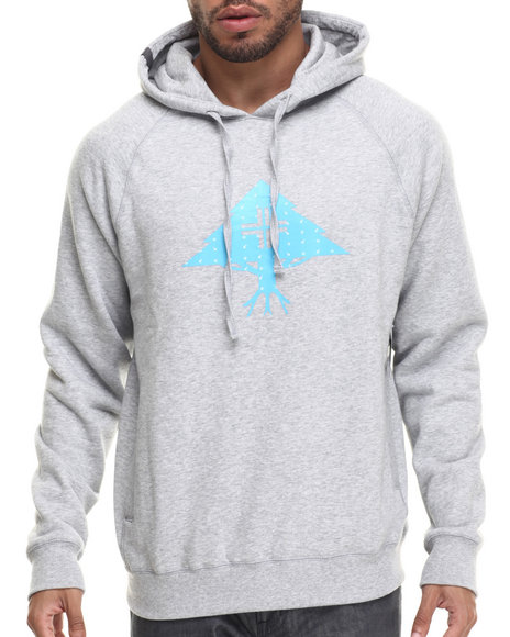 Lrg - Men Light Grey Ditzy Tree Pullover Hoodie