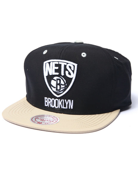 Mitchell & Ness - Men Black Brooklyn Nets Butter Nylon 2Tone Strapback Hat