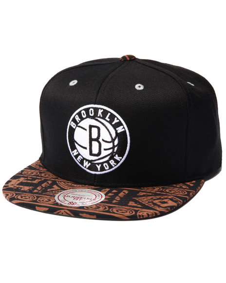 Mitchell & Ness - Men Black Brooklyn Nets The Archives Snapback Hat