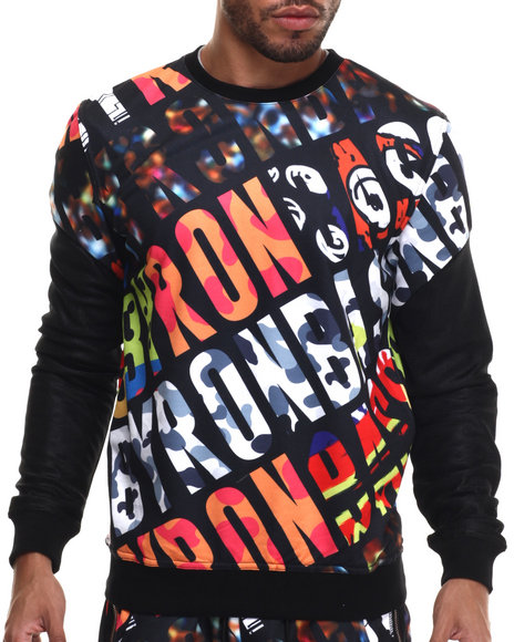 Ur-ID 214817 Bass By Ron Bass - Men Black,Multi Bass Hits Crewneck Sweatshirt