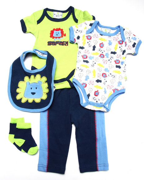 Duck Duck Goose - Boys Navy 5 Pc Safari Set (Newborn)