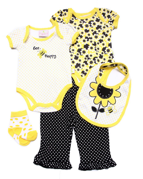 Duck Duck Goose - Girls Yellow 5 Pc Bee Happy Set (Newborn) - $9.99