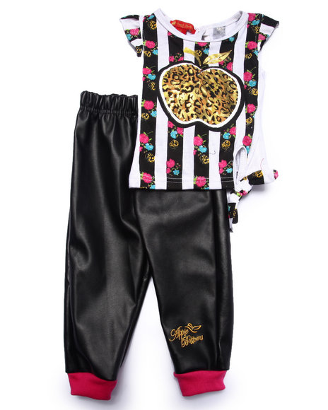 Apple Bottoms - Girls Black 2 Pc Jogger Set (Infant) - $18.99
