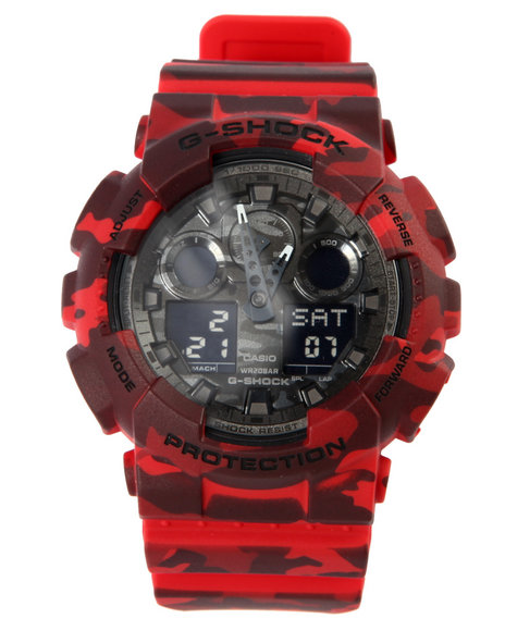 G-Shock By Casio Men Ga-100 Camoflauge Watch Red - $127.99