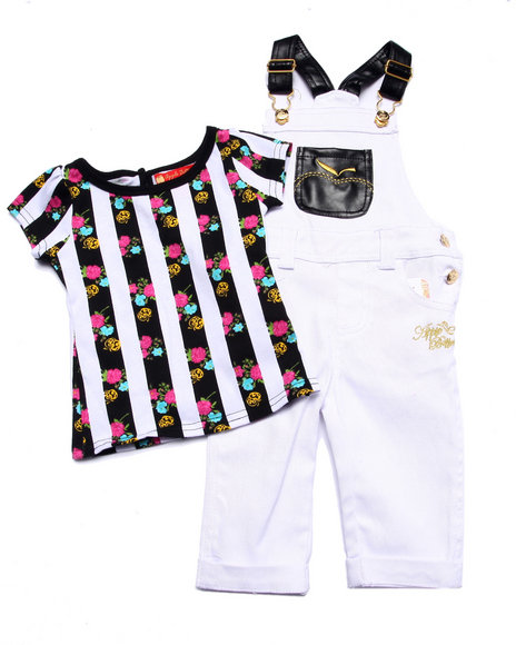 Apple Bottoms - Girls White 2 Pc Overall Set (Infant)