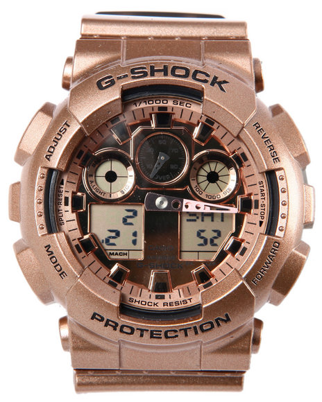G-Shock By Casio Men Rose Gold Ga100 Watch Gold