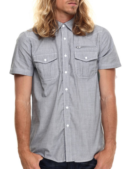 Ur-ID 214898 Basic Essentials - Men Navy End On End S/S Button Down Shirt