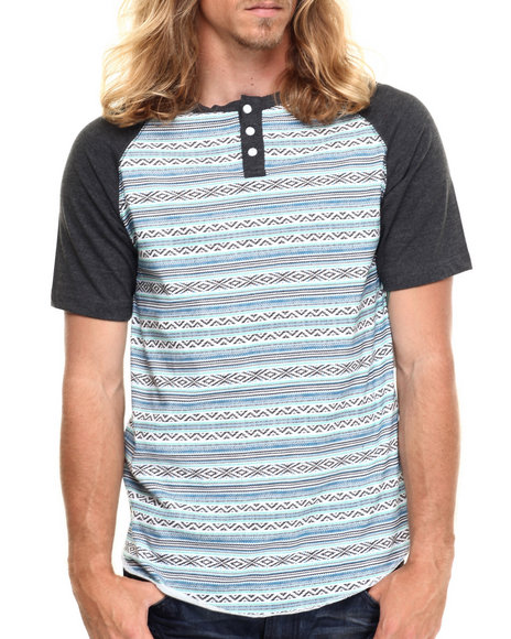 Buyers Picks - Men Blue Blanket Henley S/S Tee