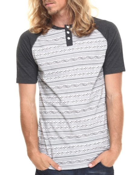 Buyers Picks - Men Charcoal Blanket Henley S/S Tee - $11.99