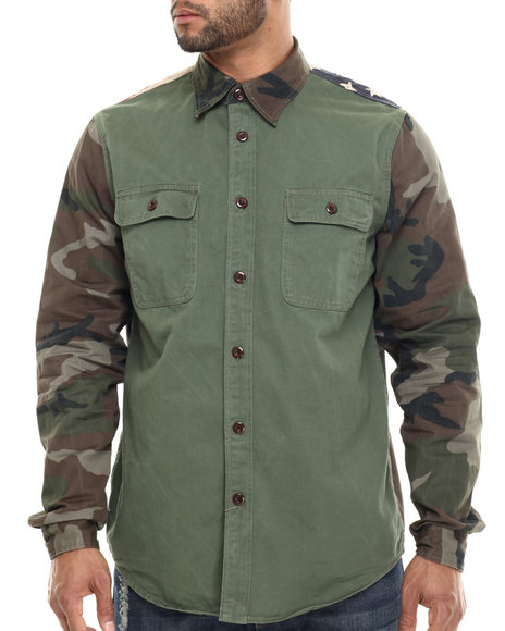 Double Needle Camo,Olive Flagged Camo - Sleeved L/S Button-Down
