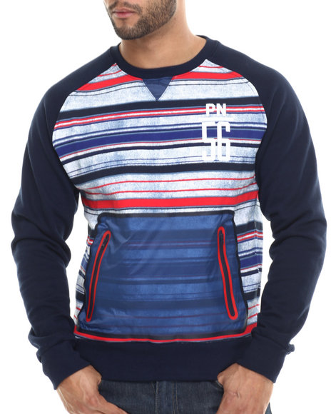 Ur-ID 214919 Parish - Men Navy Printed Stripe Sweatshirt