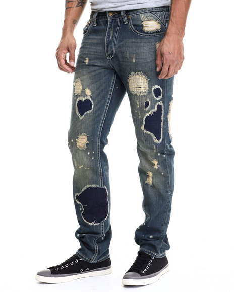 Ur-ID 214923 Heritage America - Men Medium Wash Tsunami Acid - Wash Denim Jeans