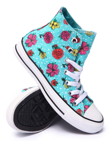 Converse - Women Teal Floral Polka Dot Chuck Taylor All Star Hi Sneakers